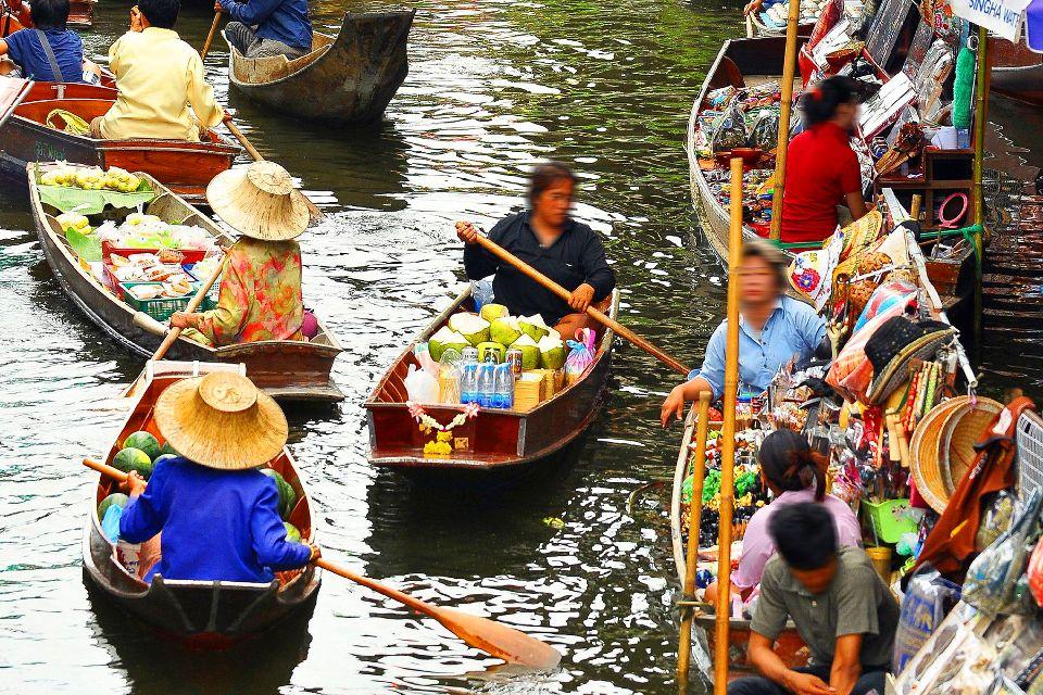 Les marchés flottants de Bangkok , Le marché de Damnoen Saduak , Thaïlande