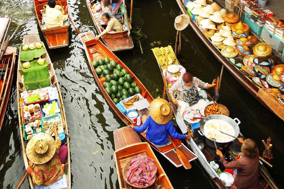 Les marchés flottants de Bangkok , La circulation dans les marchés , Thaïlande