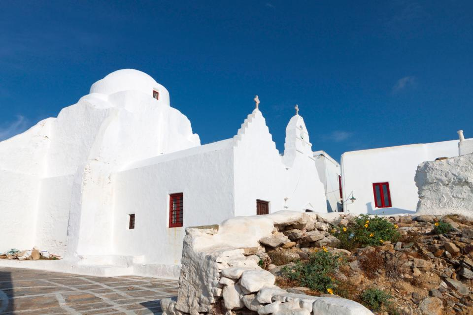 L'église de la Panagia Paraportiani à Mykonos , Grèce