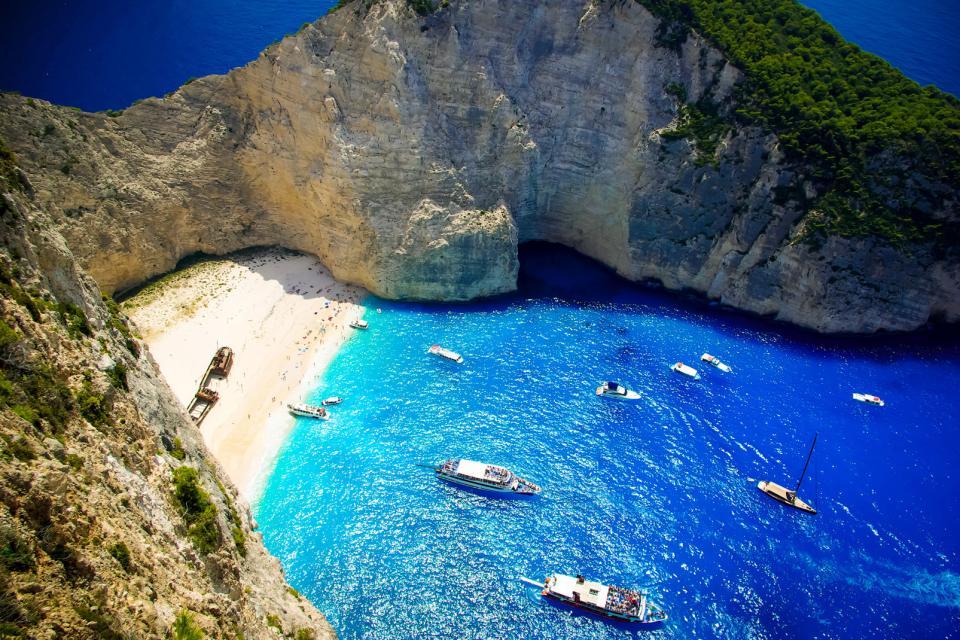 La baie du naufrage à Zante , Grèce