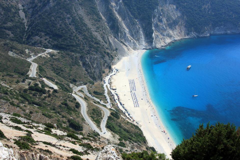 La plage de Myrtos à Céphalonie , Grèce