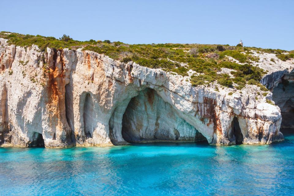 Les grottes bleues de Zante , Grèce
