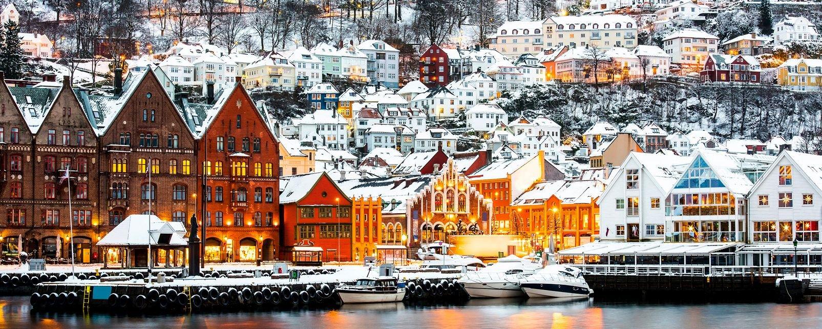 Le quartier de Bryggen à Bergen , Norvège