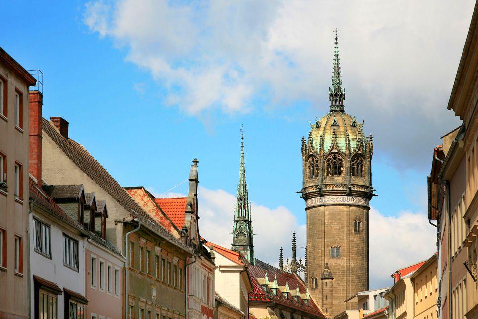 Les arts et la culture, Wittenberg Allemagne Saxe-Anhalt Europe Luther tour Schlosskirche église maisons ville