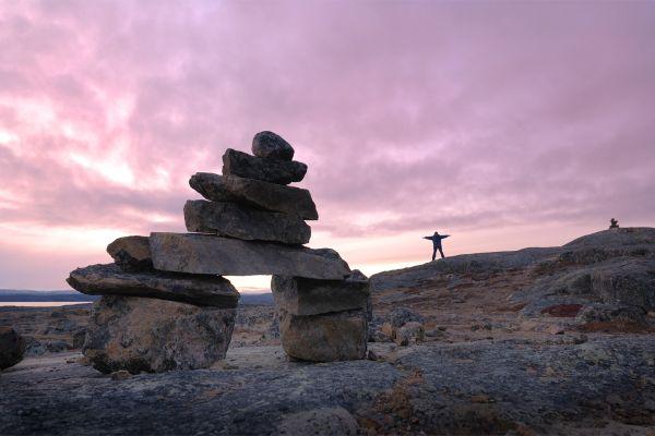 Les paysages, Ile de Baffin, Baffin, Nunavut, Canada, Amérique du Nord, Inukshuk, Iqaluit, Personne humaine, Scène tranquille, Liberté