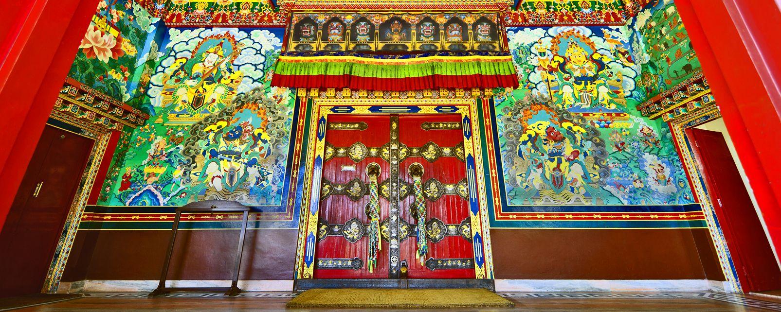 Les arts et la culture, porte, Bouddha. Monastère, Copán, Kopan, Katmandou, Népal, asie, bouddhisme, religion.