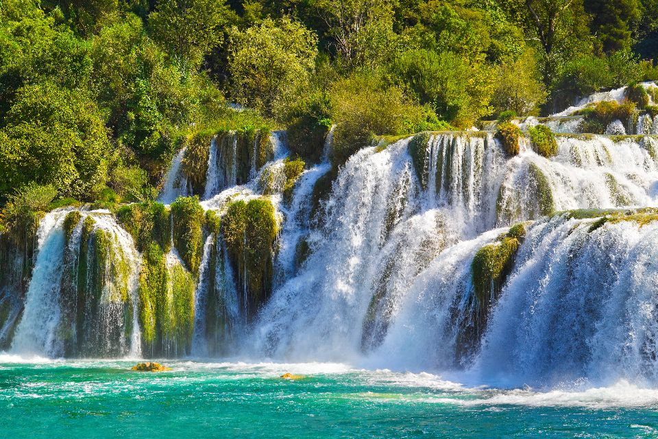 Krka National Park , A scenic view of a Krka waterfall , Croatia