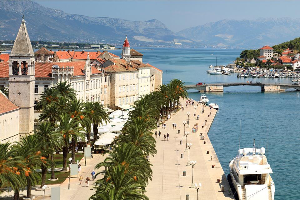 The coastal cities , A coastal town and its harbour , Croatia