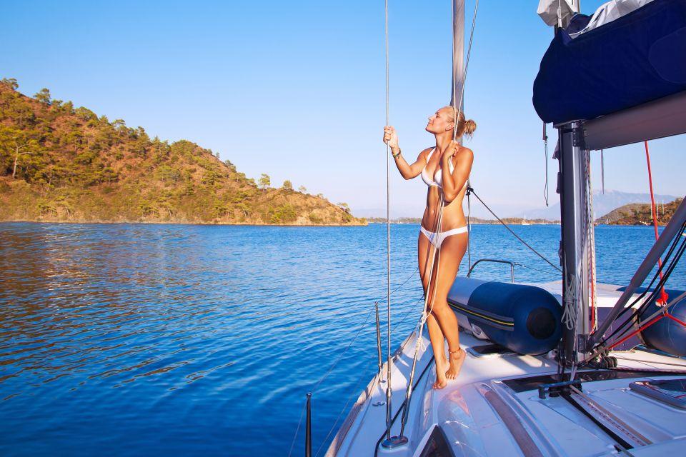 Les paysages, kornati, dalmatie, adriatique, mer, croatie, europe, kornati, île, voilier, femme, maillot, beauté