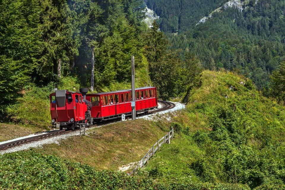 Les paysages, Autriche, europe, wolfgangsee, lac, train, schafberg, sankt wolfgang, Salzkammergut, transport