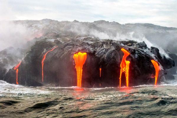 Les excursions, hawaii, états-unis, USA, amérique, volcan, lava tour, lave, océan