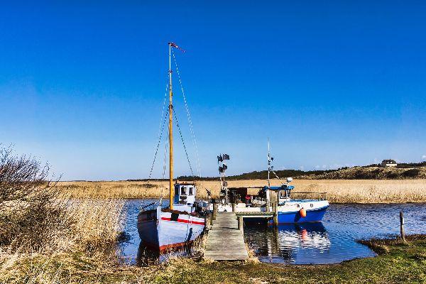 The fjords' region , Boats in a Danish fjord , Denmark