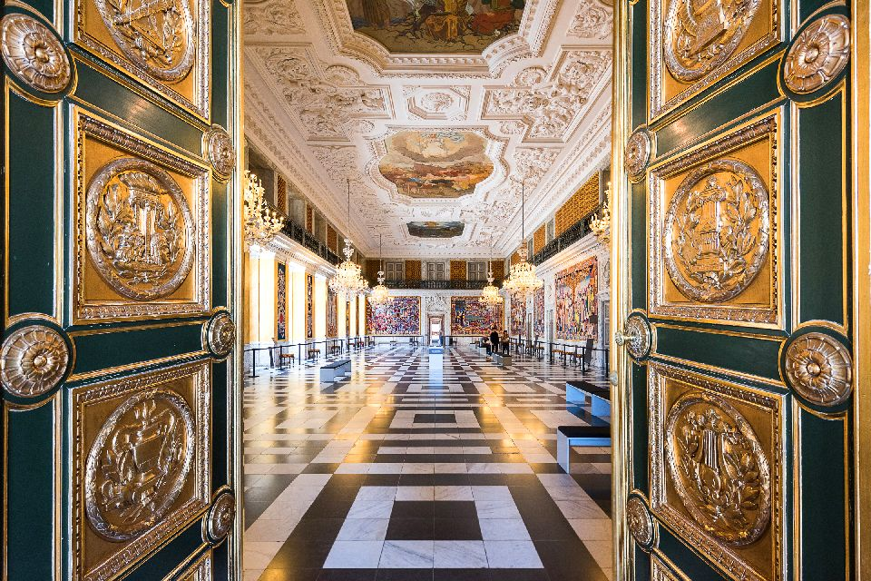 The royal castles , The façade of Amalienborg Palace , Denmark