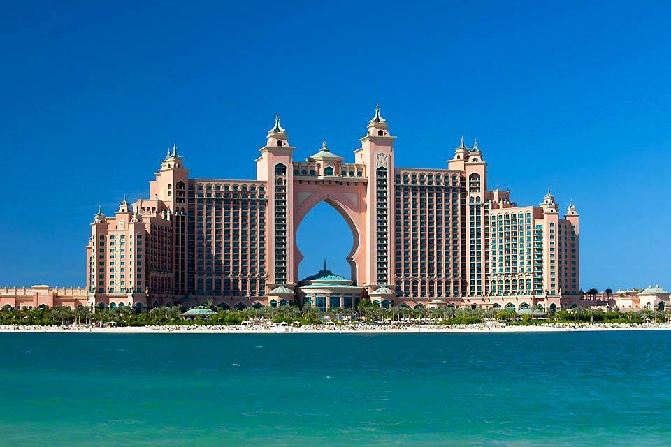 The luxury hotels of Jumeirah , The Palm Jumeirah in Dubai , United Arab Emirates