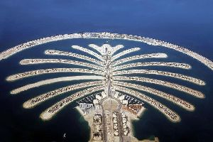 The Dubai palm islands , Dubai, Palm Jumeirah Island , United Arab Emirates