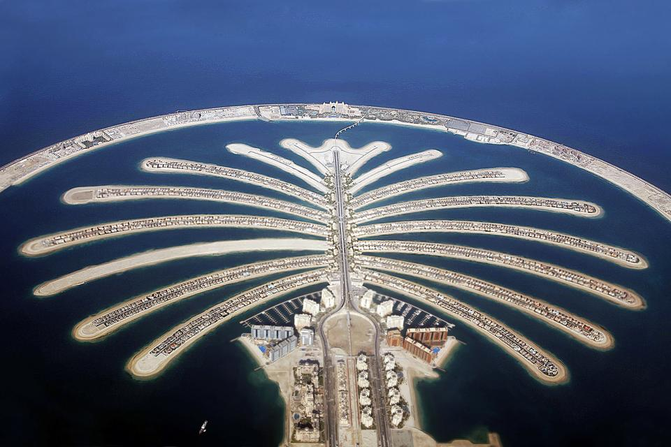 The Dubai palm islands , Dubai, Palm Jumeirah Island , United Arab Emirates