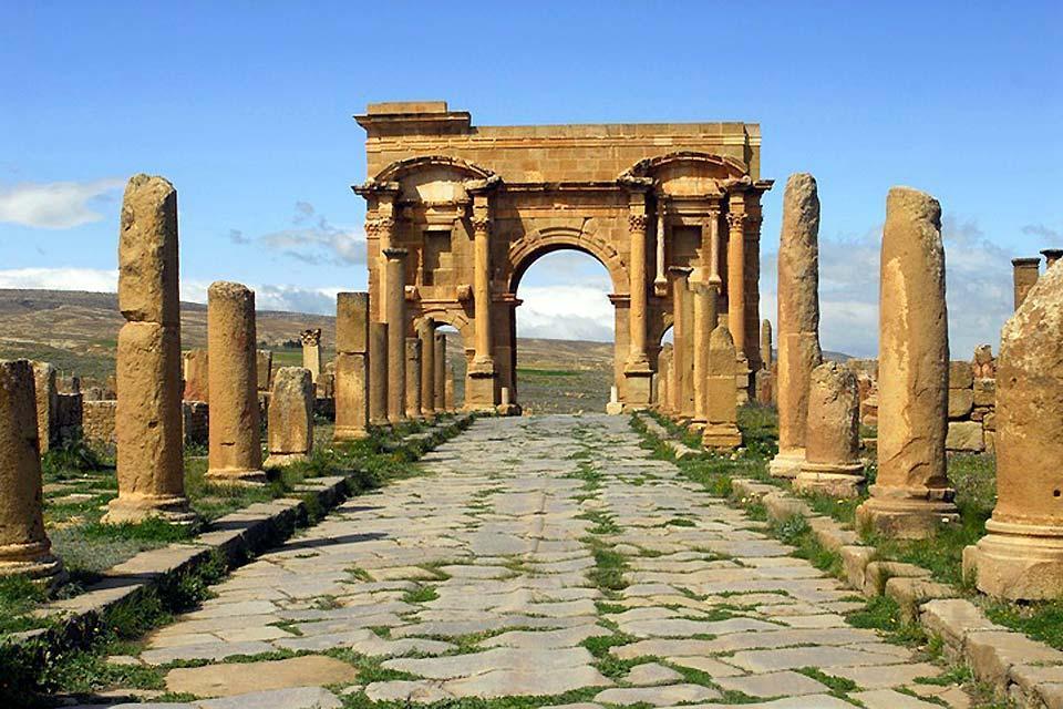 Las ruinas romanas , Timgad , Argelia