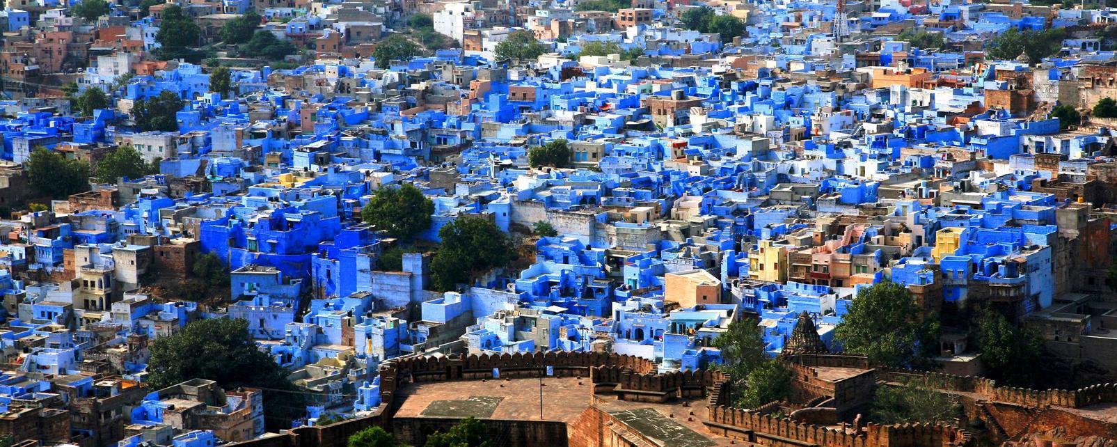 Asie, Inde, Rajasthan, Jodhpur, ville, bleue, maison,