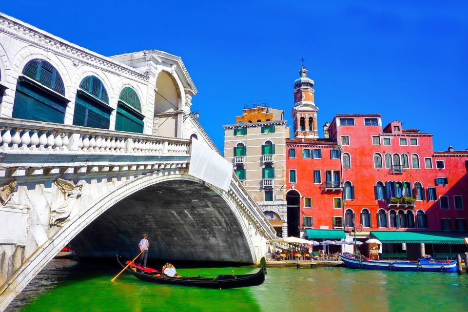 Europe, Italie, Vénétie, Venise, gondole, pont, Rialto, ville, architecture,