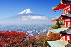 Asie, Japon, Fujiyoshida, Mont Fuji, pagode, Chureito, montagne, ville, Mt Fuji,