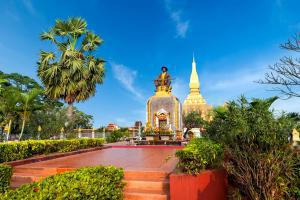 Asie, Laos, Vientiane, pagode, Pha That Luang, statue, roi, Setthatthirath, arbre, religion,