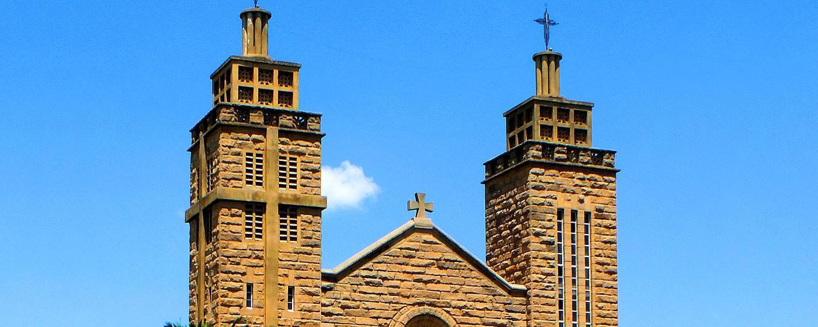Afrique, Lesotho, Maseru, cathédrale, Notre Dame des Victoires de l'Archidiocèse, catholique, arbre,