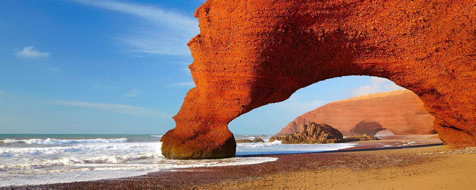 Afrique, Maroc, plage, Atlantique, baignade, roche, arche,