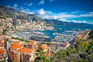 Europe, Monaco, Monte Carlo, Principauté, port, bateau, ville, montagne, immeuble,