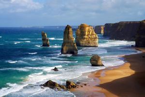 Océanie, Australie, Douze Apôtres, plage, baignade, falaise, sable, océan, mer, rocher,