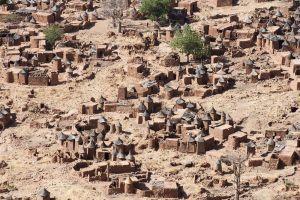 Afrique, Mali, Bandiagara, dogon, village, hutte, arbre,