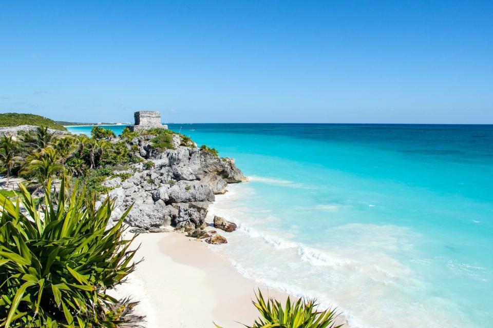 Amérique, Amérique du Nord, Mexique, Tulum, ruine, maya, plage, baignade,