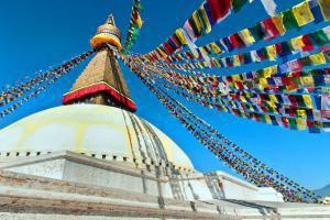 Asie, Népal, Katmandou, Stupa, Bodhanath, drapeau, Bouddhanath, Bodnath, sanctuaire, bouddhiste,
