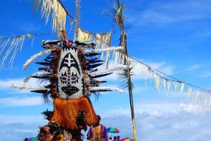 Océanie, Papouasie-Nouvelle-Guinée, masque, ciel,