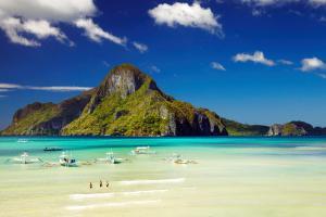 Asie, Philippines, Palawan, Baie, El Nido, île, Cadlao, barque, bateau, plage, baignade, montagne,