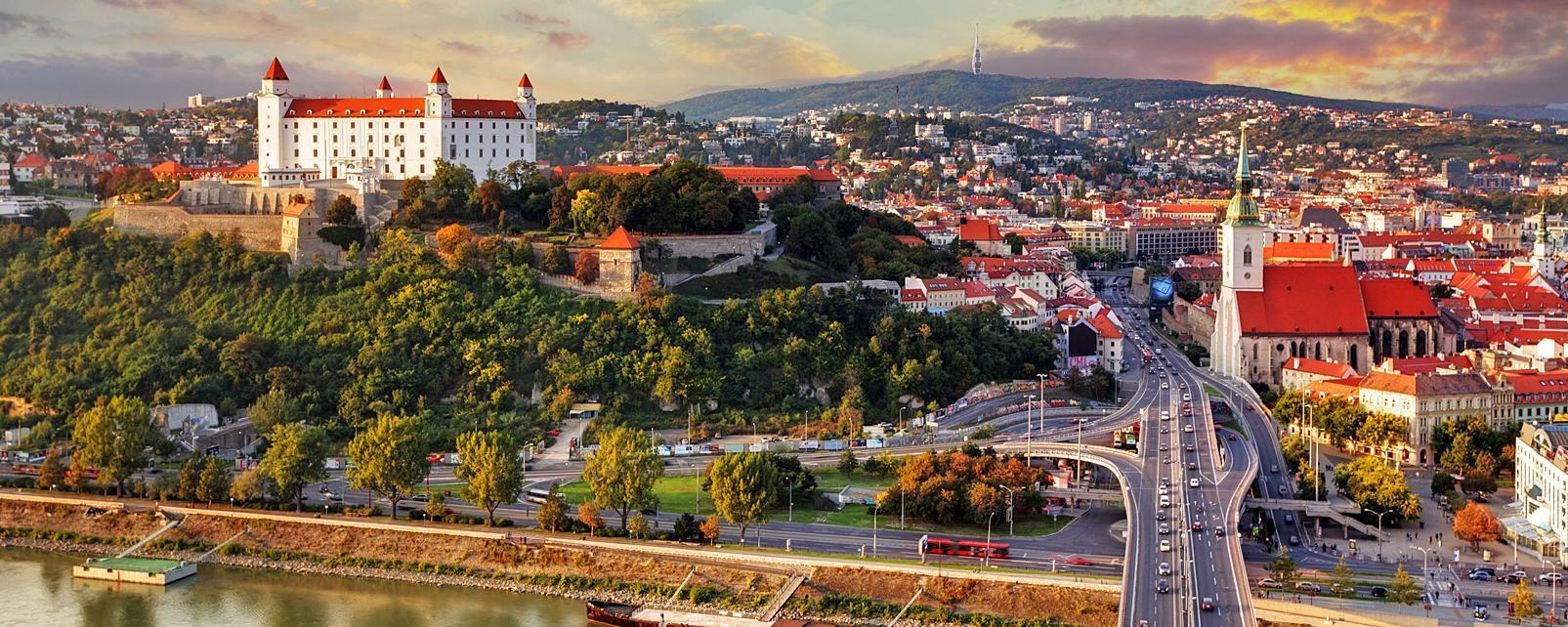 Europe, Slovaquie, Bratislava, ville, pont, immeuble, fleuve, église, arbre,