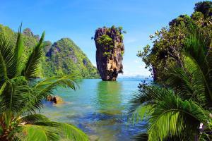 Asie, Thaïlande, Phang Nga, île, James Bond, plage, arbre, montagne, rocher, biagnade,