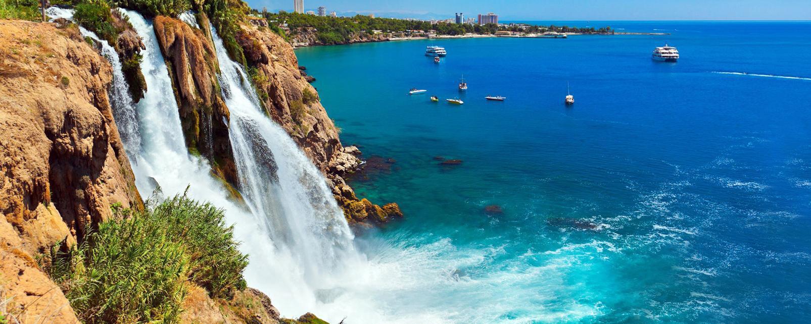 Asie, Europe, Moyen-Orient, Turquie, Antalya, cascade, Duden, mer, bateau, ville,