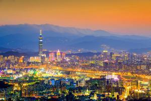 Asie, Taïwan, Taipei, ville, architecture, building, montagne,