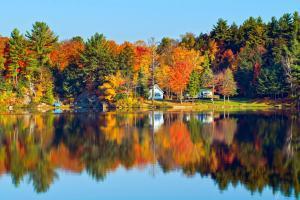 Amérique, Amérique du Nord, Canada, amérique, été indien, lac, village, campagne, maison, arbre, forêt,