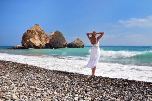 Europe, Chypre, Paphos, Aphrodite, plage, rocher, baignade, femme, détente,