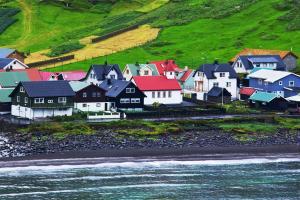 Europe, Danemark, village, maison, colorée, prairie, plage,