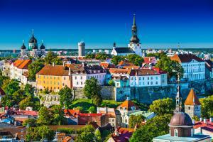 Europe, Estonie, Tallinn, ville, Tompea Hill, maison, toit, église, arbre, architecture,