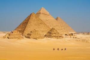 Afrique, Egypte, Gizeh, pyramide, désert, chameau, sable, promenade,