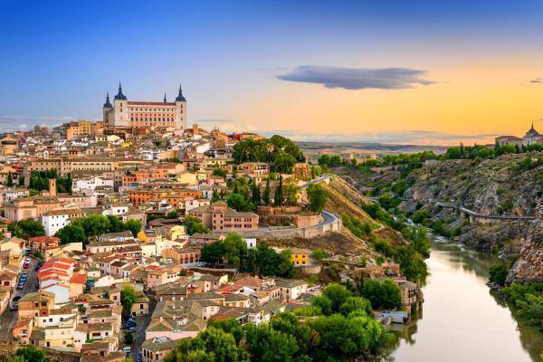 Europe, Espagne, Tolède, ville, fleuve, Tage, maison, arbre,