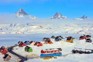 Groenland, arctique, danemark, Tasiilaq, montagne, maison, colorée, neige, village,