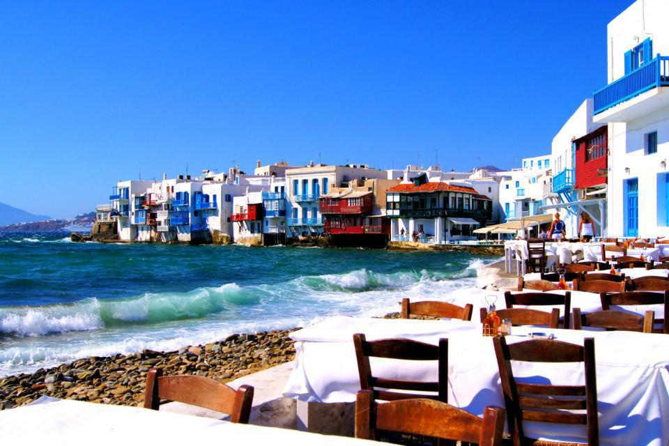Europe, Grèce, Cyclades, Mykonos, ville, ville, restaurant,mer, bâtiment,