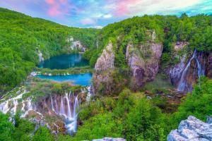Europe, Croatie, Plitvice, parc national, chute, cascade, rivière, arbre, montagne, rocher,