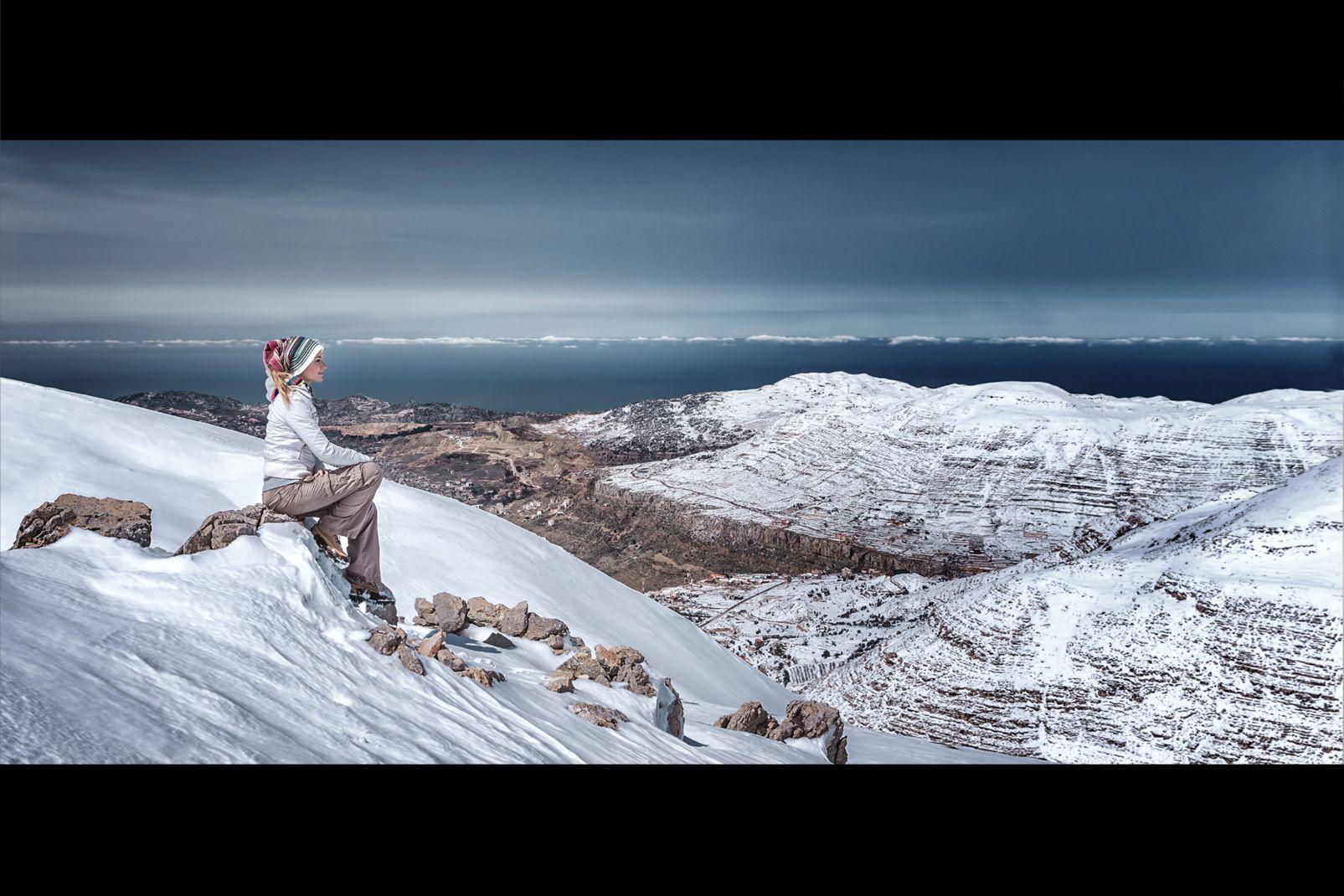 Liban, moyen-orient, méditerranée, montagne, femme, neige