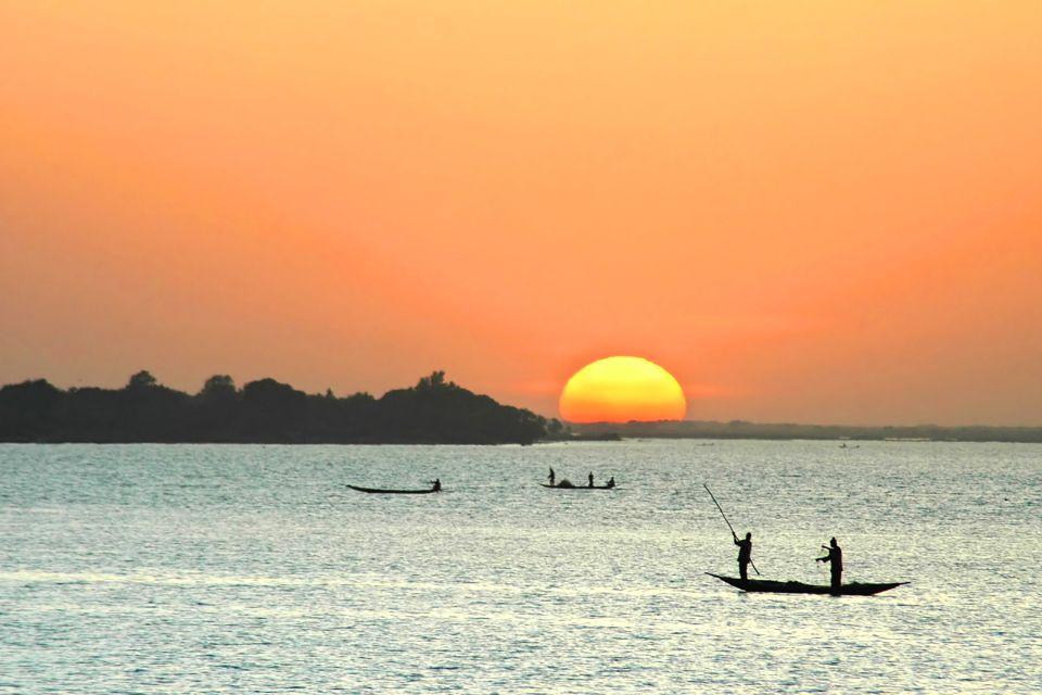afrique, niger, pêcheur, canoes, soleil, mer