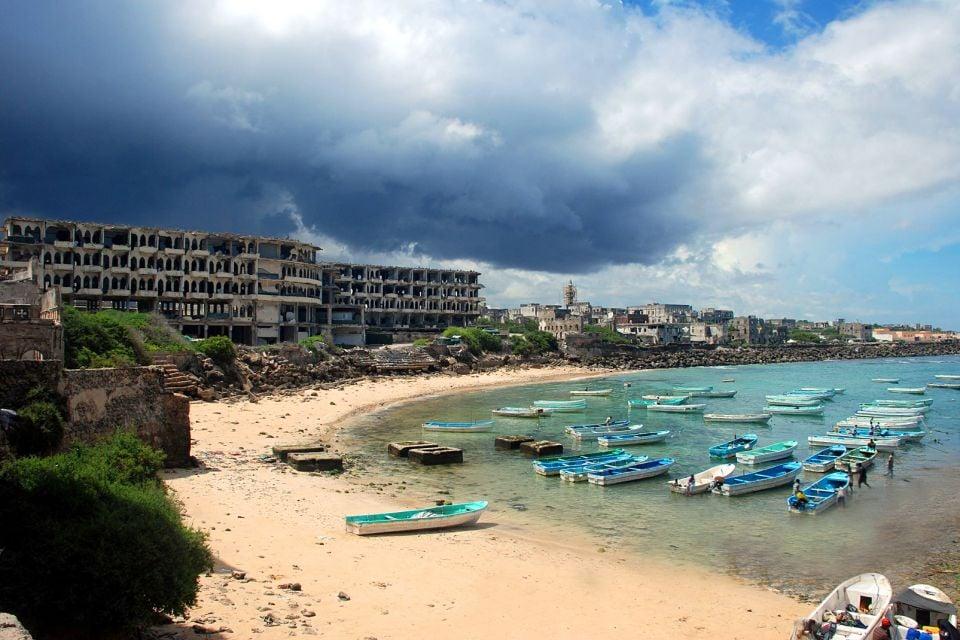 afrique, somalie, mogadishun, port, pêcheur, plage, barque